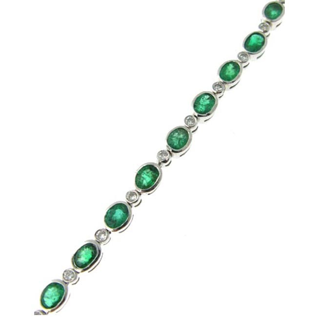 Loverjewelry Luxury Design Solid 18K White Gold Emerald