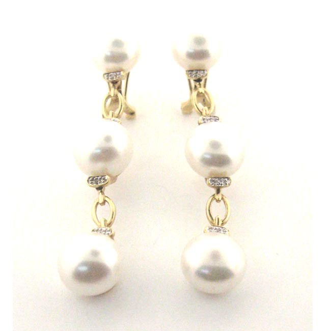 Pearl &amp; Diamond Drop Earrings 