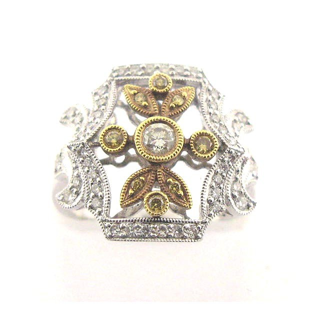Yellow &amp; White Diamond Ring