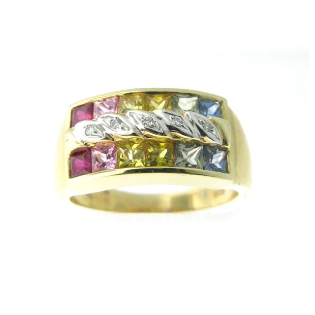 Multi Colored Gemstone & Diamond Ring