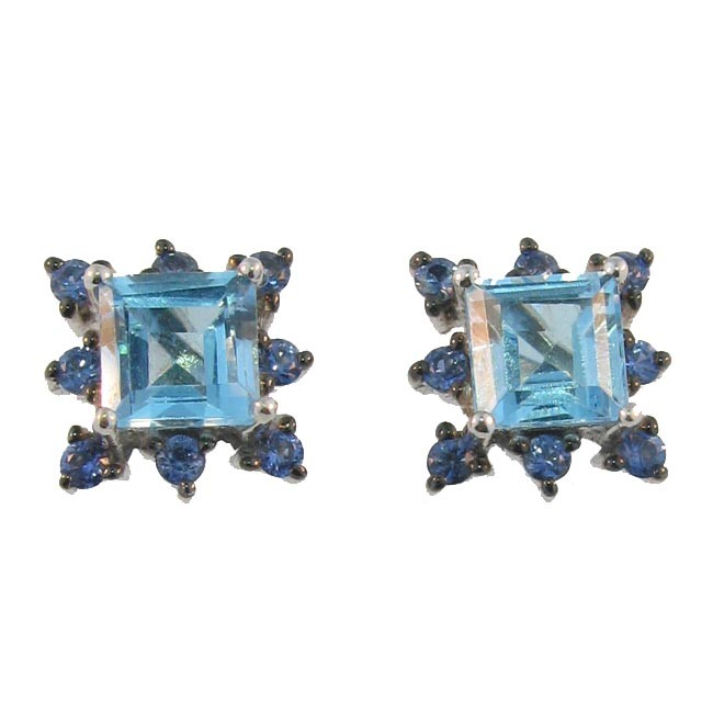 Blue Topaz & Sapphire Earrings