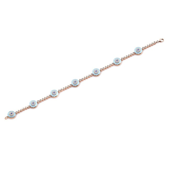 14k Yellow Gold Diamond Sapphire Evil Eye Tennis Bracelet