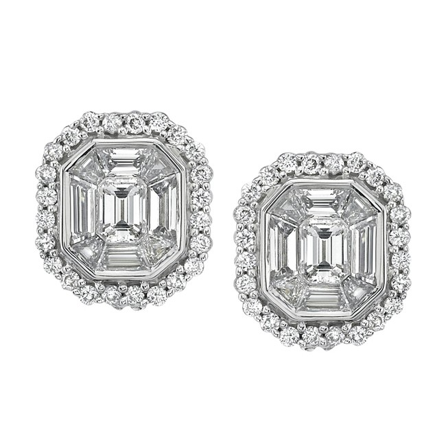 14k White Gold Emerald Cut Diamond Earrings