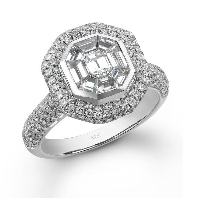 14k White Gold Emerald Cut Diamond Mosaic Ring