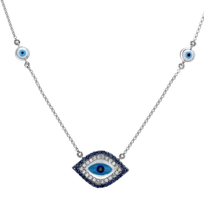 14k White Gold Evil Eye Diamond Necklace