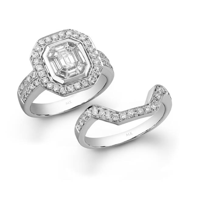 14k White Gold Diamond Mosaic Bridal Set