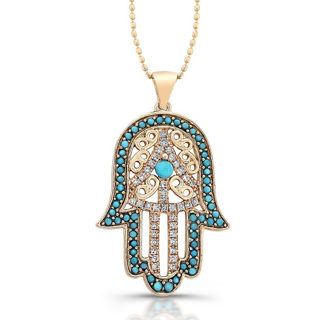 Caribbean gems 14k rose gold diamond and turquoise hamsa pendant 14k rose gold diamond and turquoise hamsa pendant aloadofball Gallery