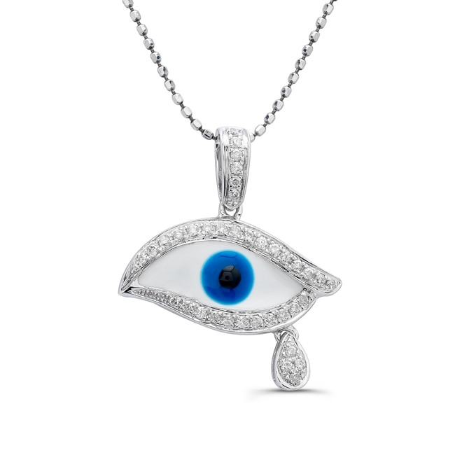 Caribbean gems 14k white gold diamond evil eye pendant 14k white gold diamond evil eye pendant aloadofball Image collections