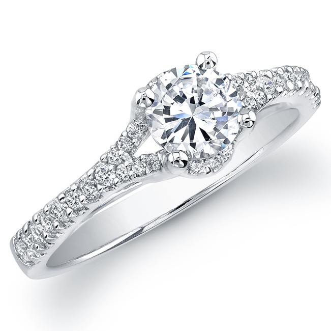 14k White Gold Split Shank Diamond Semi Mount