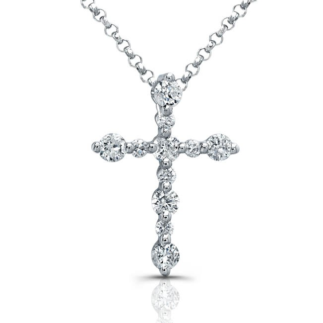 necklace white gold cross diamond chains