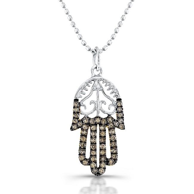 14k White Gold Diamond Vintage Design Hamsa Pendant