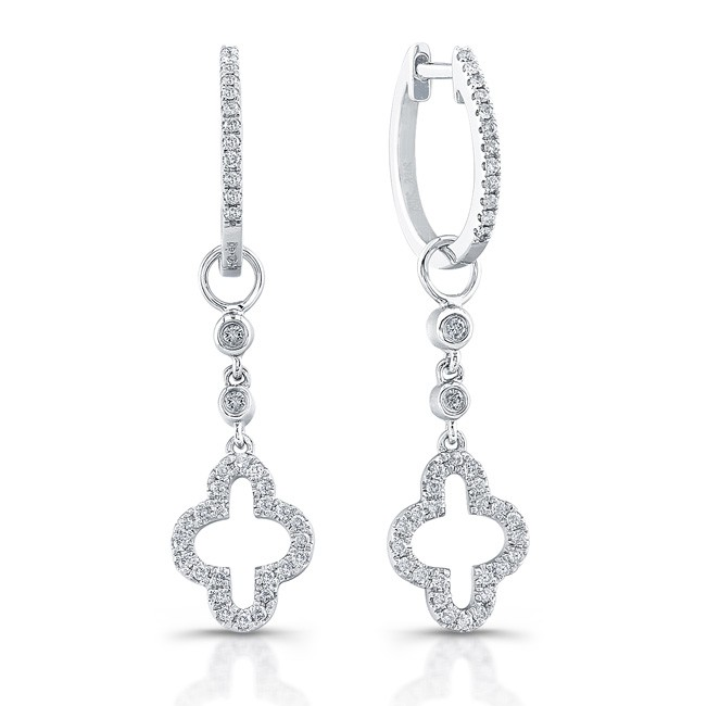 14k White Gold Open Cross Diamond Earrings
