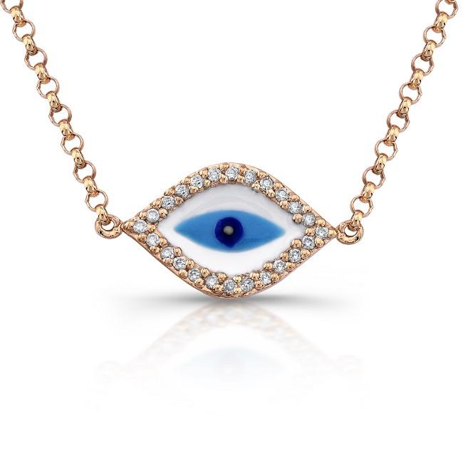14k rose gold diamond enamel evil eye necklace. Black Bedroom Furniture Sets. Home Design Ideas