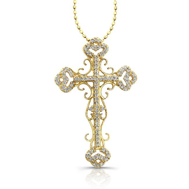 Caribbean gems 14k yellow gold antique diamond cross pendant 14k yellow gold antique diamond cross pendant aloadofball Image collections