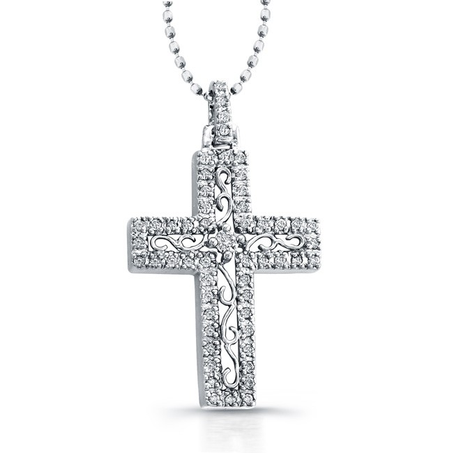 14k White Gold Diamond Edge Cross Pendant