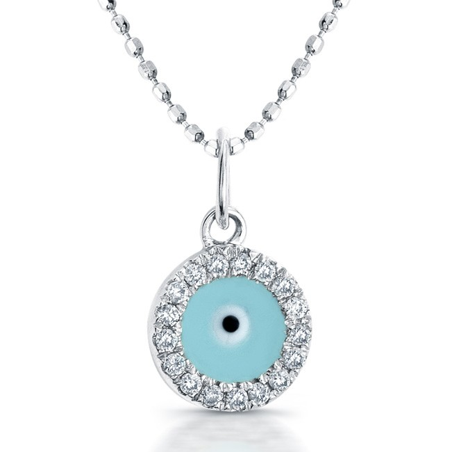 14k white gold diamond and enamel evil eye pendant aloadofball Image collections