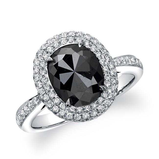 18k white gold oval shaped black diamond ring - Black Diamond Wedding Rings For Women