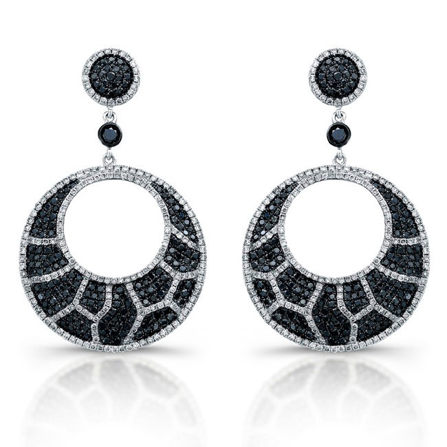 White Gold Black and White Diamond Animal Print Chandelier Earrings – Black Diamond Chandelier Earrings