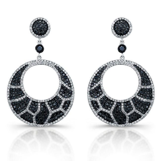 White gold black and white diamond animal print chandelier earrings 14k white gold black and white diamond animal print chandelier earrings aloadofball Gallery