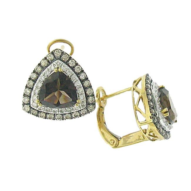 Smoky Topaz with Diamonds earrings