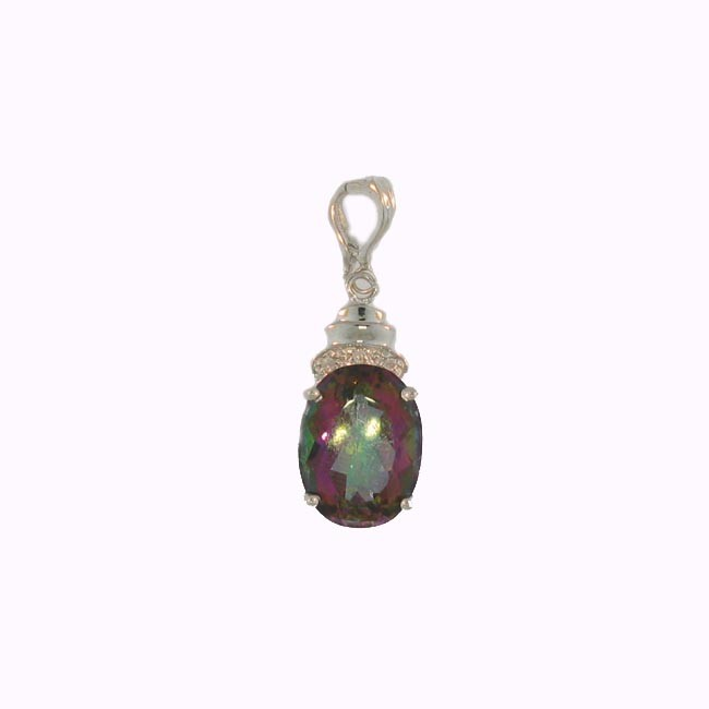 Rainbow Topaz & Diamond Pendant
