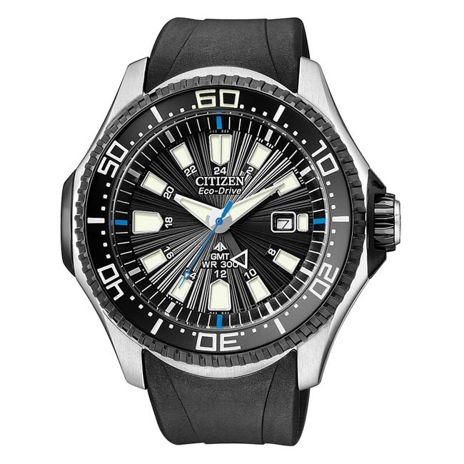 Citizen Mens Eco-Drive Promaster GMT Diver - Black Dial - Black Rubber Strap