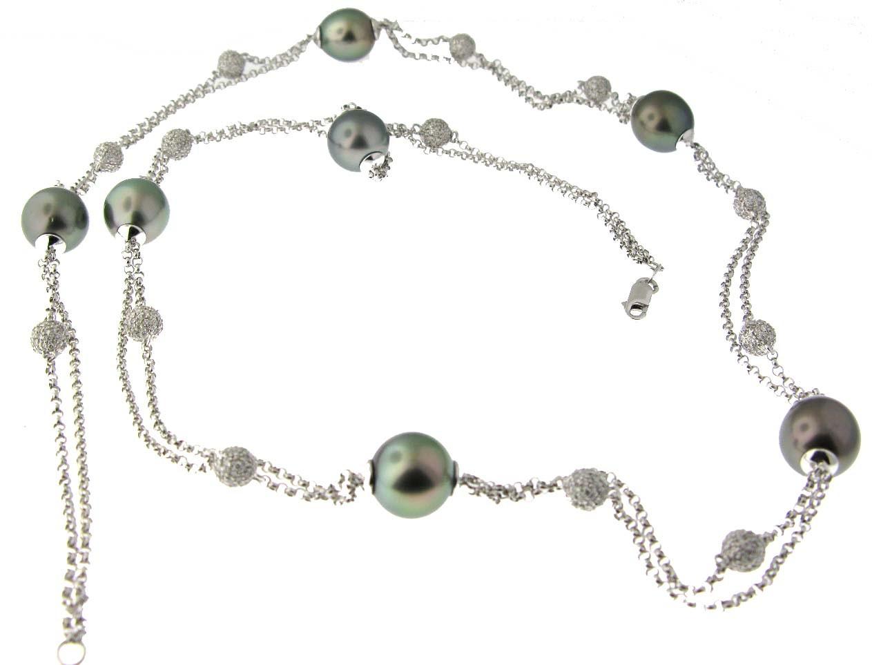 Black Pearl & Diamond Necklace