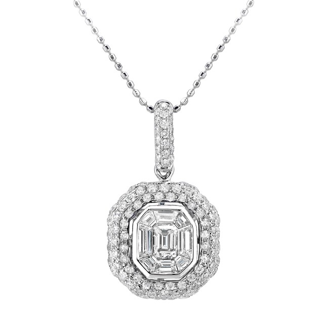 14k White Gold Mosaic Diamond Encrusted Pendant