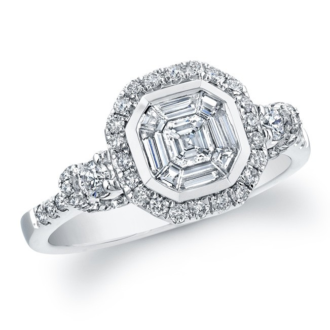 18k White Gold Exquisite Asscher Cut Diamond Ring