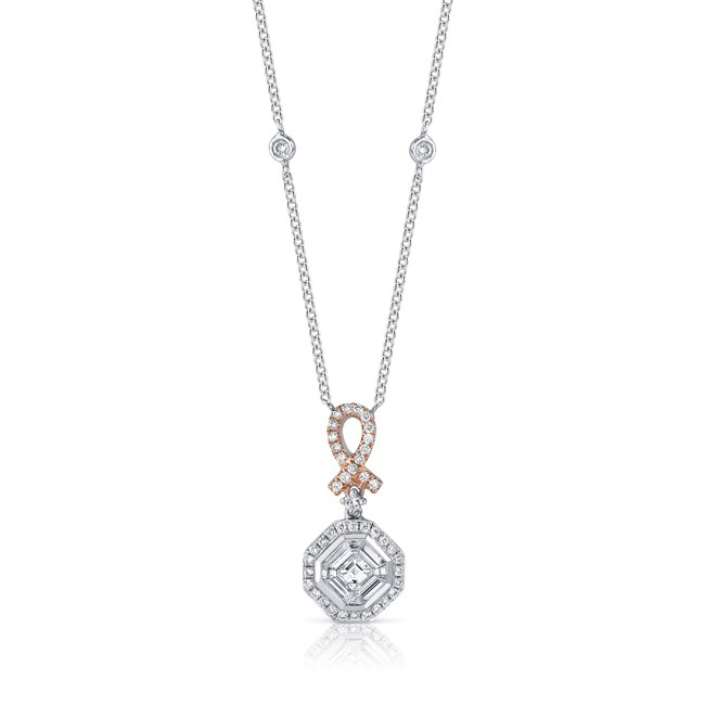 18k White and Rose Gold Asscher Cut Diamond Pink Ribbon Mosaic Necklace