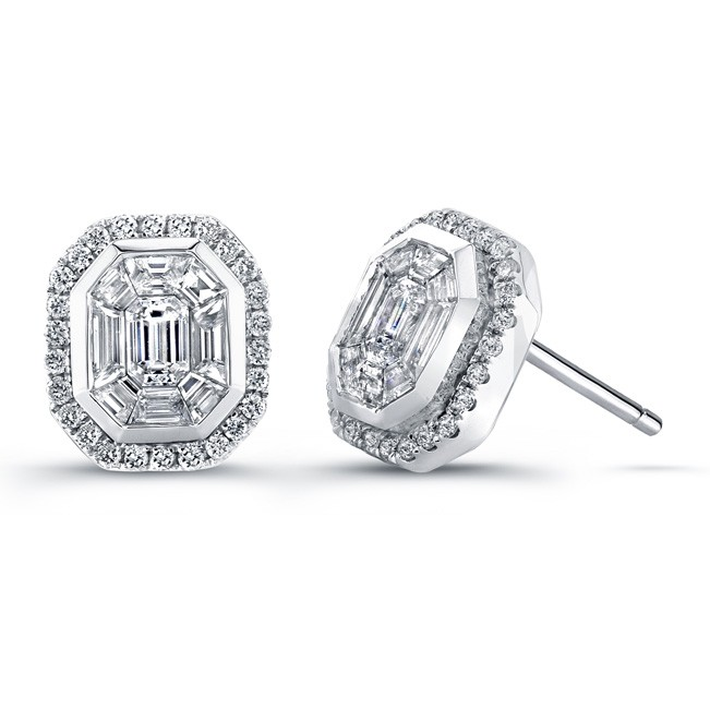 14k White Gold Diamond Mosaic Earrings