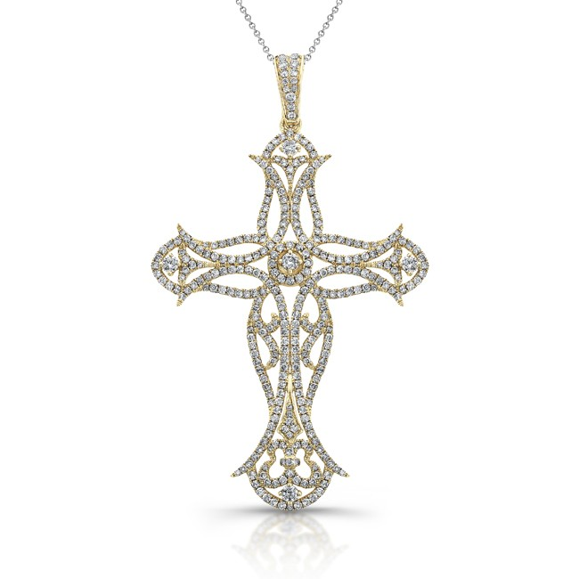 14k Yellow Gold Oversize Cross Pendant