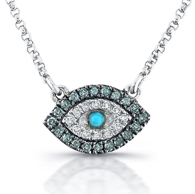 caribbean gems 14k white gold diamond evil eye necklace. Black Bedroom Furniture Sets. Home Design Ideas