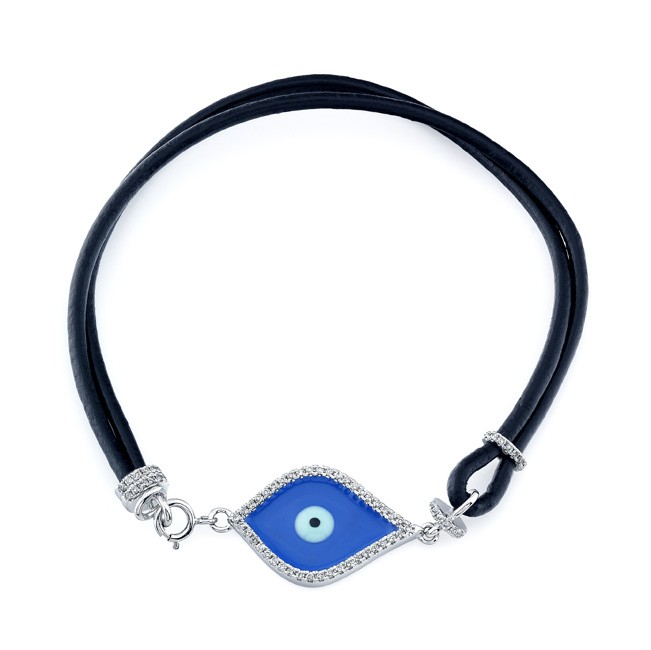 14k White Gold Dark Blue Enamel Diamond Evil Eye Bracelet