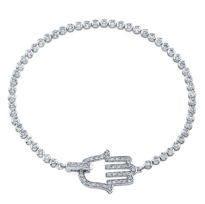 14k White Gold Diamond Hamsa Tennis Bracelet