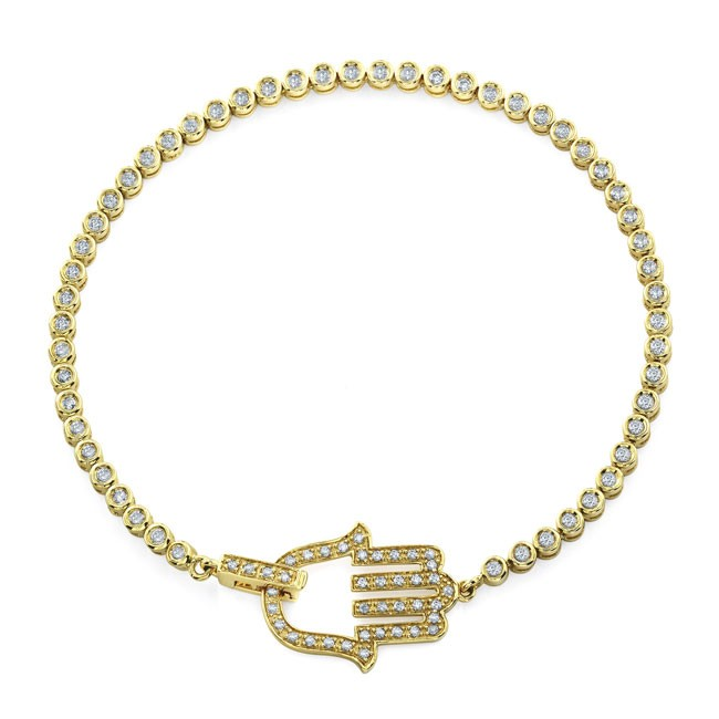 14k Yellow Gold Diamond Hamsa Tennis Bracelet
