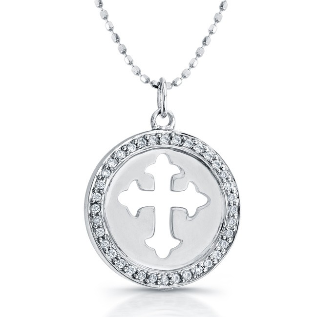14k White Gold Diamond Cut-Out Cross Disk Pendant