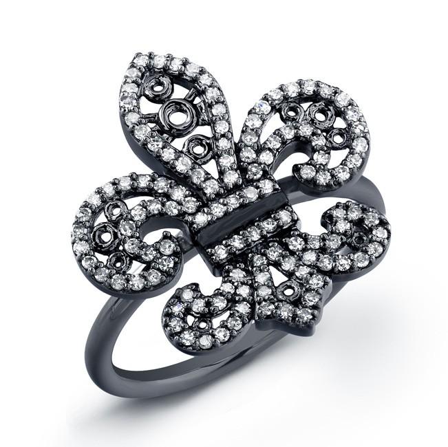 14k Black Gold Fleur De Lys Ring