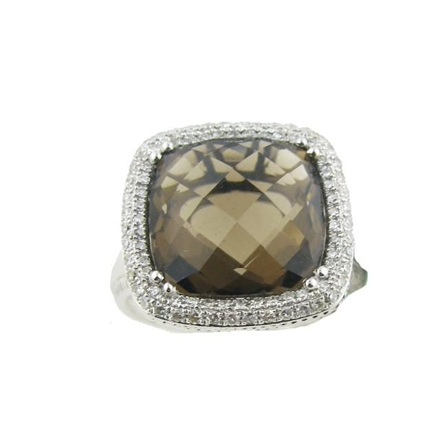 Smoky Topaz & Diamond Ring