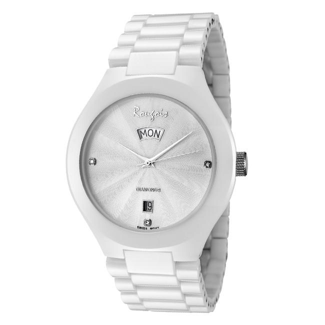 men s white ceramic watch genuine diamonds rougois men s white ceramic watch genuine diamonds