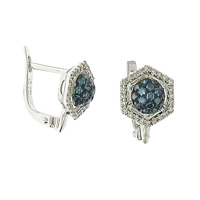 Blue and White Diamond Earrings