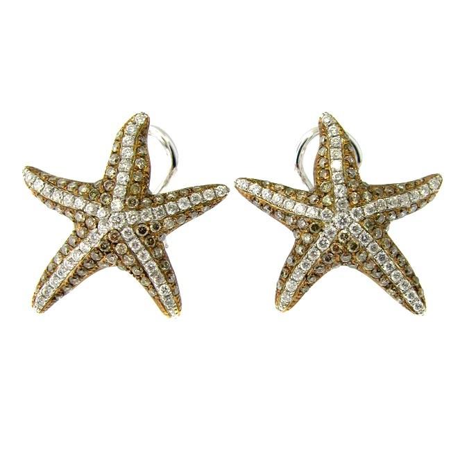 Brown & White Diamond Star Fish Earrings