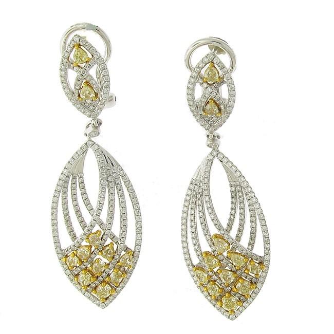 Yellow and White Diamond Earrings
