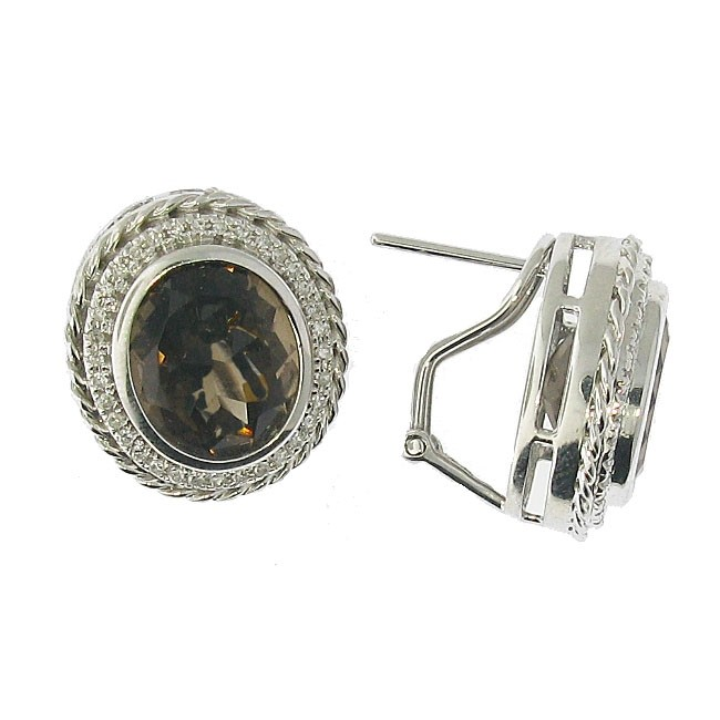 Smoky Topaz and Diamond Earrings