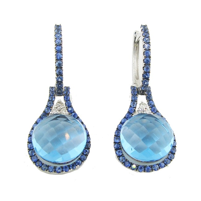 Blue Topaz, Sapphire & Diamond Earrings