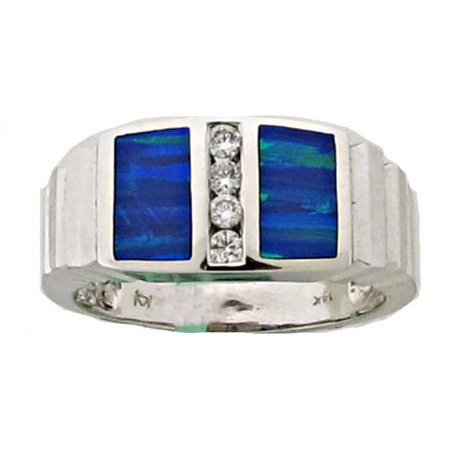 Mens Gilson Opal & Diamond Ring