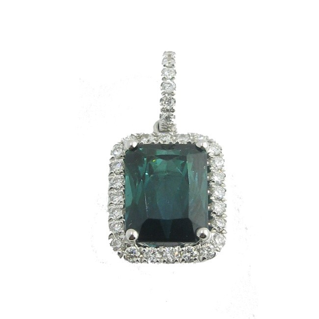 Green Tourmaline & Diamond Pendant