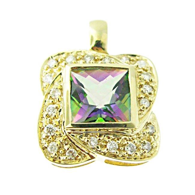 Rainbow Topaz & Diamond Pendant