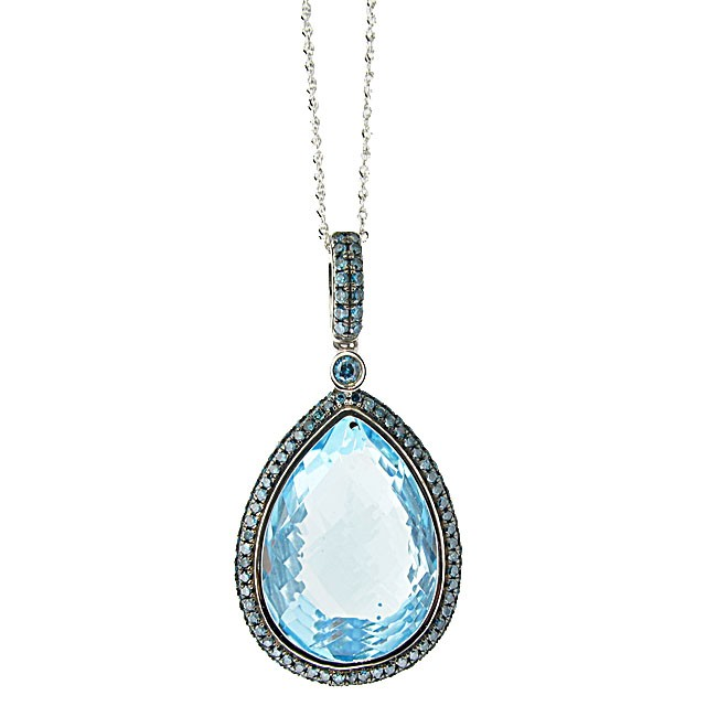 Blue Topaz with Blue Diamonds Necklace