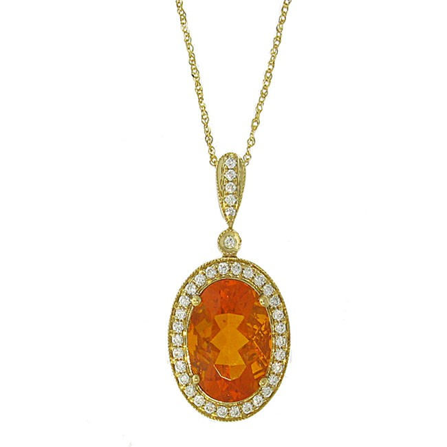 Fire Opal and Diamond Necklace